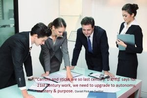 Motivated business group working together
